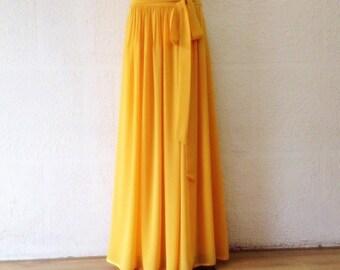 Gold Maxi Skirt. Long Bridesmaid Skirt. Chiffon Floor Length Skirt.