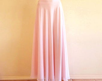 Blush Pink Maxi Skirt. Blush Pink Bridesmaid. Skirt Long Evening Skirt. Chiffon Floor Length Skirt.