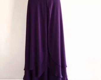Dark Purple Maxi Skirt. Dark Purple Bridesmaid Skirt. Chiffon Floor Length Skirt.