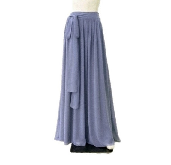 Dark Steel Blue Bridesmaid Skirt Long Evening Skirt Dark Steel Blue Maxi Skirt. Chiffon Floor Length Skirt