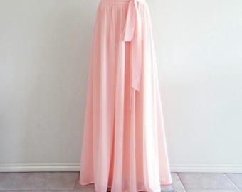 Light Pink Maxi Skirt. Light Pink Bridesmaid. Skirt Long Evening Skirt. Chiffon Floor Length Skirt