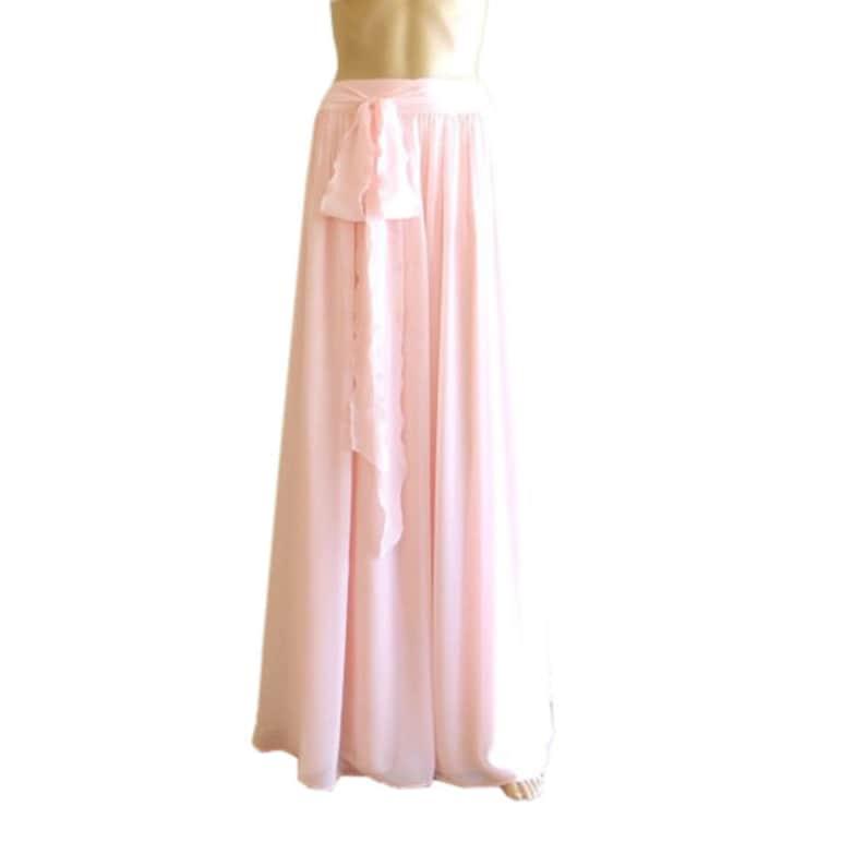 Blush Pink Maxi Skirt.Blush Pink Bridesmaid Skirt. Chiffon image 1