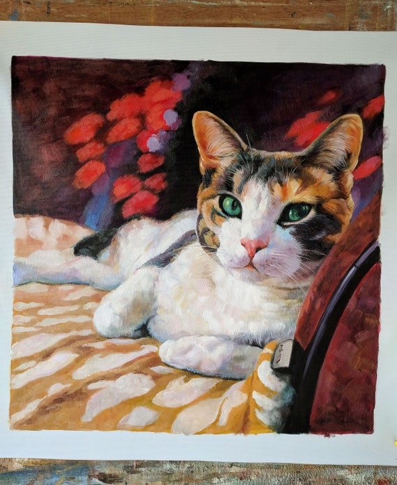 Custom Pet Portrait Art Hand Painted Commission Cat Oil Painting From Photo