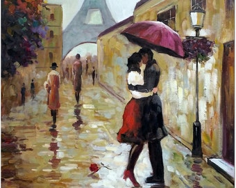 Paris Romance - Signed Hand Painted Modern Impressionist Landscape Oil Painting On Canvas Certificate of Authenticity Included