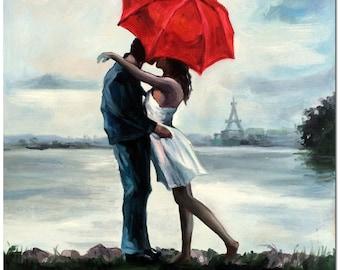 Lovers Rainy Romance - Original Hand Painted Eiffel Tower Landscape Oil Painting On Canvas