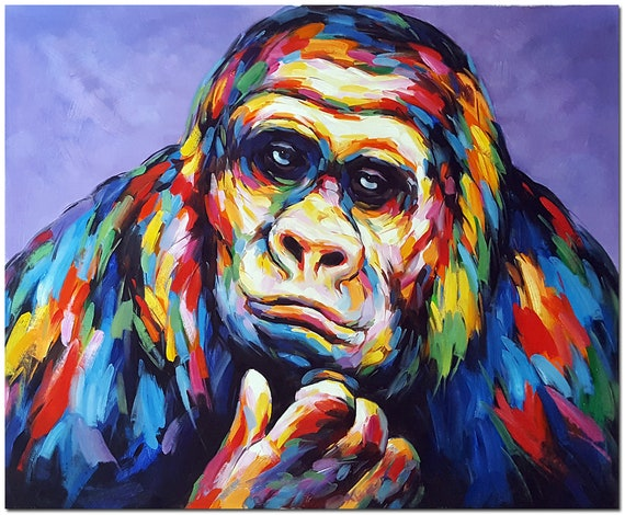 Multicolor Francoise Nielly Portraits Handmade Oil: Hand Painted Gorilla Oil Painting On Canvas Contemporary