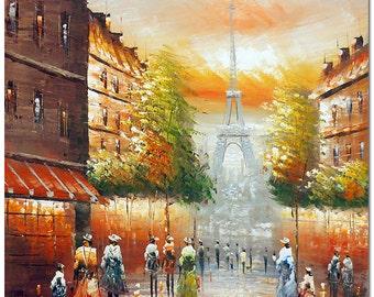 Paris Wonder Oil Painting - Signed Hand Painted Palette Knife Eiffel Tower Landscape  Fine Art On Canvas