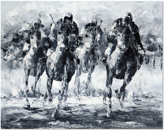 Hand Painted Impressionist Horse Racing Oil Painting Wall Art Kentucky Derby