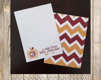 Monogram Note Card Printables - Perfect for teacher appreciation gifts!