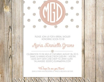 Monogram Bride to be Bridal Shower Invitation