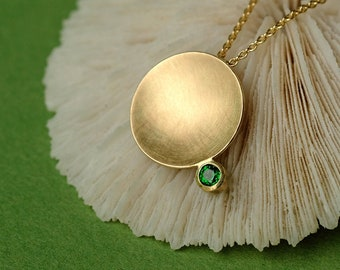 Gold necklace with green stone, solid gold necklace matt finish, green gift for her, tsavorite necklace pendant, minimalist green pendant
