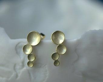 Earrings 14 k gold, small ear climber organic, 18K solid gold ear climber, mermaid gold earrings, organic 14Ct studs, bridal earrings gold