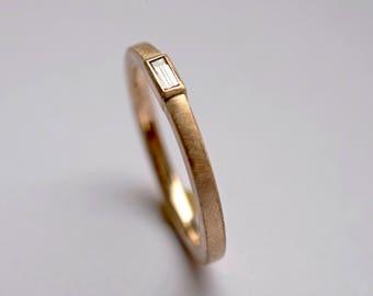 Baguette diamond ring, Baguette Bezel Diamond Solitaire, Engagement ring minimalist, diamond wedding ring, minimalist diamond Ring,