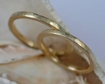 Wedding rings hammerd textured, 1.8mm Engagement ring set, Gold Wedding Rings, Unisex gold ring set, Personalised Rings Bride Groom