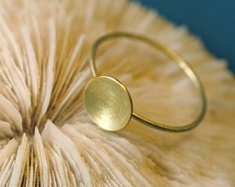 Gold Ring, solid Gold ring, domed disc Ring, 14K solid gold ring, geometric gold jewelry, minimal ring, gold ring minimalist, 585 gold ring