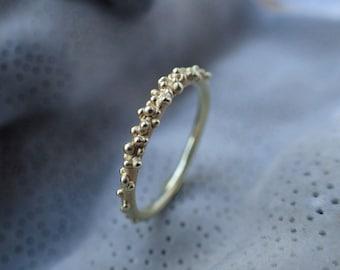 Ring beads 14ct, ring gold texture, ocean inspired engagement ring, beaded gold ring 14 K, organic 14k ring, gold beaded stacking ring