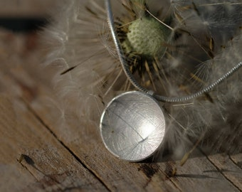 Silver round disc necklace, 925 round necklace, Matte round disk pendant, Circle necklace 925 silver matte, round pendant silver matt Ø 13mm