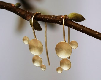 Gold hook earrings, Gold Hanging earrings, organic earrings long, domed discs earrings, organic hanging earrings, hook earrings with circles