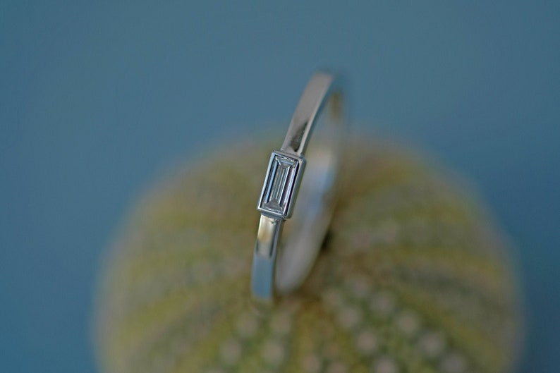 White gold Diamond ring baguette white gold ring Engagement image 0