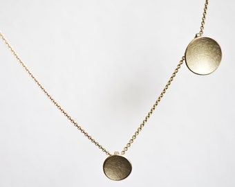 14k Gold necklace two discs, necklace with 2 charms, wedding day gift, bride necklace two circle pendants, minimal solid gold necklace
