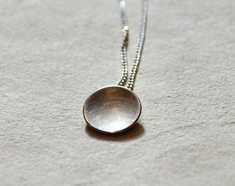 Silver necklace, matte silver necklace, minimal 925 Sterling silver necklace, bride silver necklace, convex silver pendant, girlfriend gift