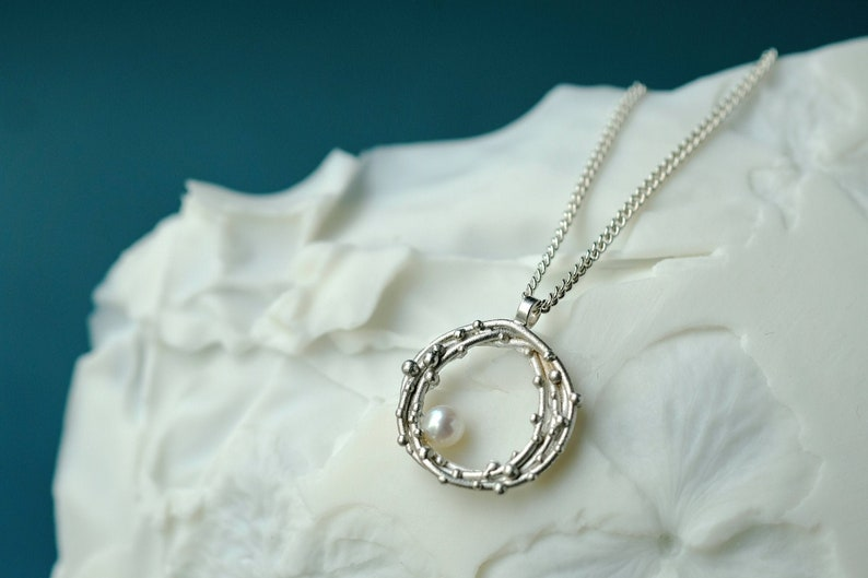 Silver necklace with pearl pearl necklace silver pendant image 0