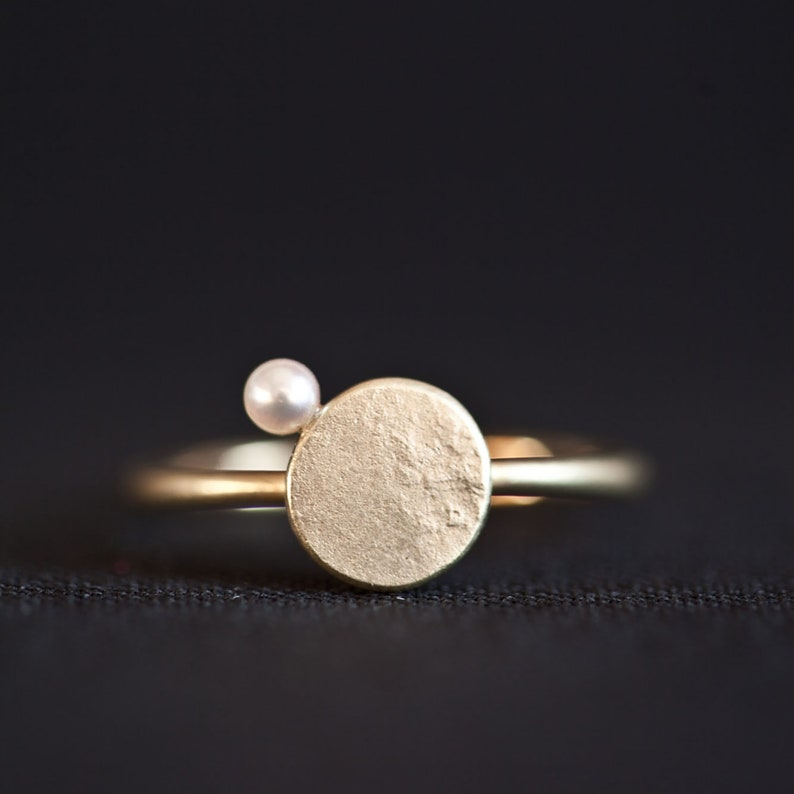 Gold Ring Pearl solid gold minimal ring small Orbit ring image 0