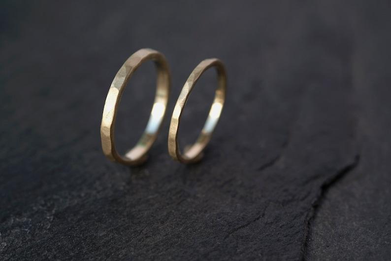 Wedding ring set hammered slim 14k Gold Ring set 18Ct image 0