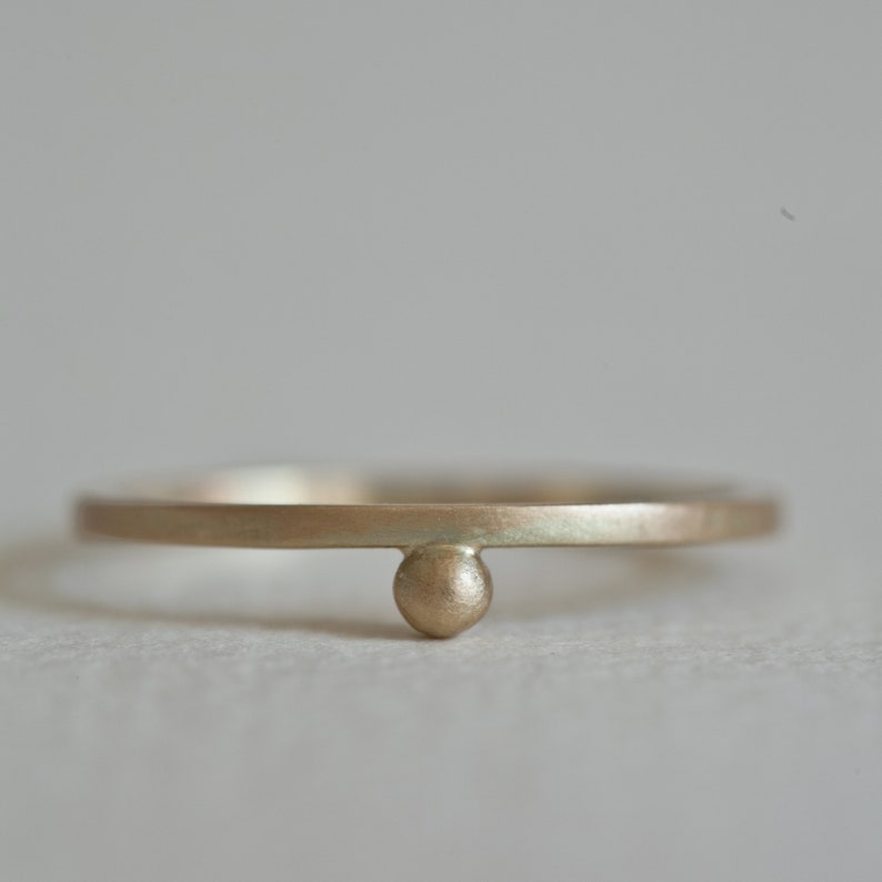 Gold Pebble Ring 14k bead ring minimalist Ring single bead image 0