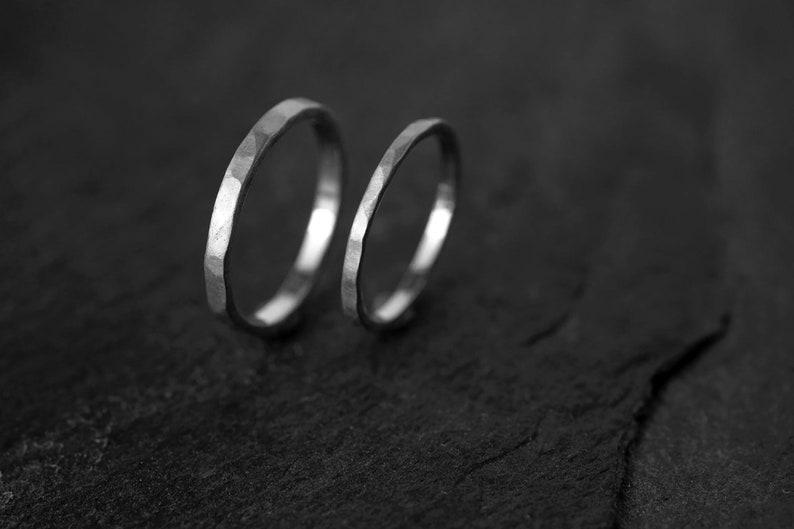 Hammered wedding ring white gold set 14k Gold Ring set 18Ct image 0