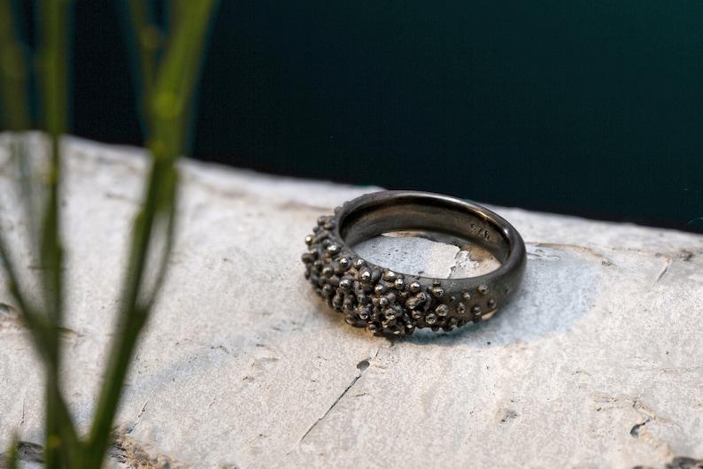 Dark ring Textured ring gray Dots ring anthracit Ocean image 0