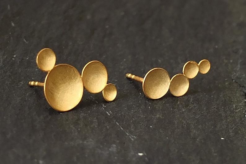 Asymmetrical earrings gold gold ear climber organic earrings image 1