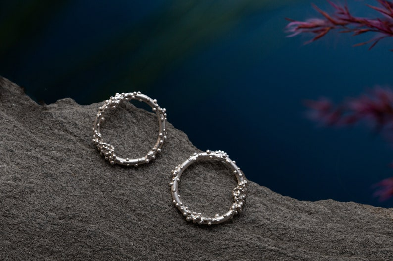 Coral Earrings Circle studs granulation Studs coral Coral image 0
