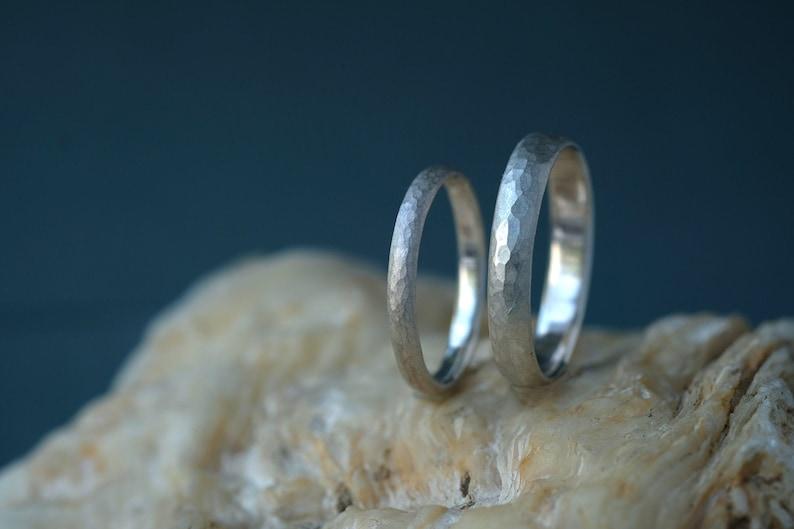 silver Wedding ring set hammered Silver Ring set 925 silver image 0