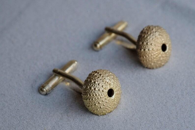 Gold cufflinks organic gold Cufflinks ocean inspired organic image 0