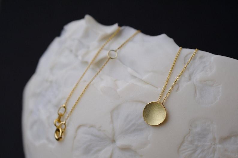 18k gold necklace matte gold necklace 18k minimalist solid image 0