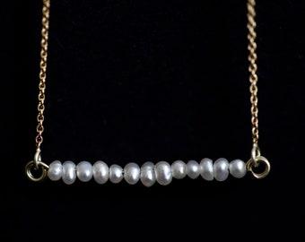 Pearls bar necklace, multi pearls minimal necklace, natural pearls necklace, 14K freshwater pearls pendant, bridal pearls