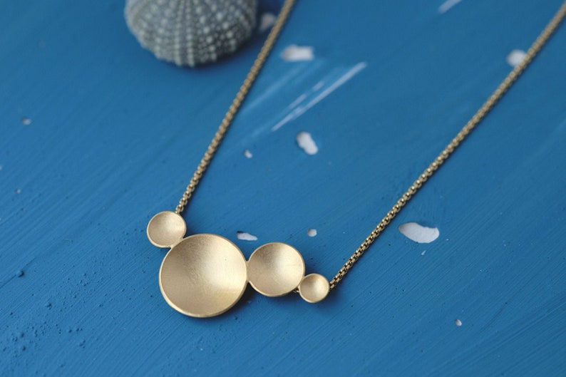Circles Necklace gold-plated necklace organic shapes four image 0
