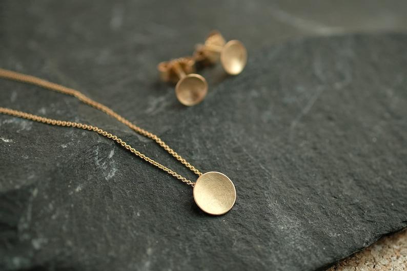 14k Gold necklace matte gold necklace 14k girlfriends gift image 0