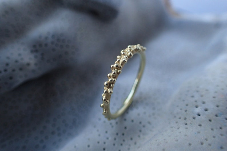Ring beads 14ct ring gold texture ocean inspired engagement image 0
