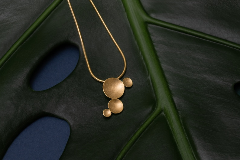 Circles necklace delicate necklace gold organic necklace image 0