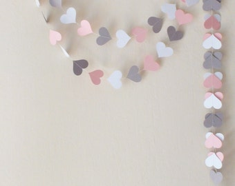 Valentines day decor Pink Gray White Paper Heart Garland Wedding garland Baby shower decor nursery decor Engagement party bachelorette party