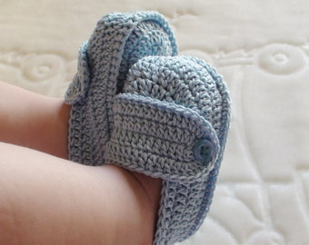 Light Blue crochet shoes for Baby Boy , Baby Boy shoes , Baby Boy booties , Crib shoes  , Baby Shower Gift , Light blue booties , for baby