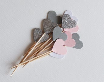 Pink Grey White Silver glitter Heart Cupcake Toppers , Pink Wedding , Pink baby shower , Bachelorette party , bridal shower , Girl birthday