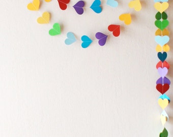 Rainbow heart paper garland ,  Party decorations , Rainbow paper bunting , Children's room decor , Colorful paper garland , party decoration