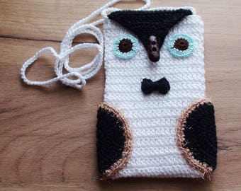 Black white Owl case Phone cozy  Owl bag  iPhone Cozy  gift for birthday phone case  iPhone Gadget Owl crochet case Christmas gift for her