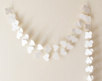 White paper heart garland , wedding decor , Party decor , Wedding garland , White wedding , bridal shower , birthday decor , bachelorette