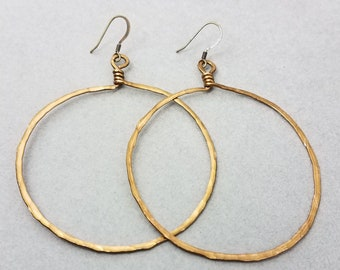 Vintage Bronze Tone Round Hammered Wrapped Hoops in 6 sizes