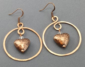 Hand Hammered Copper Hoop and Copper Hammered Puffy Heart