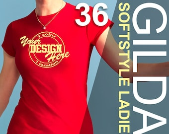36 GILDAN SOFTSTYLE Ladies Custom Screen Printed T's, 1 color print, 1 location| Personalized shirts